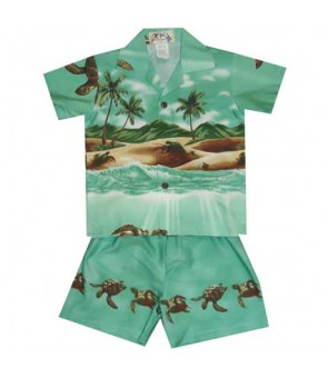 Hawaiian Cotton Boys Cabana Set [Turtle Ocean] Green