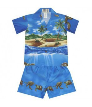 Hawaiian Cotton Boys Cabana Set [Turtle Ocean] Navy Blue