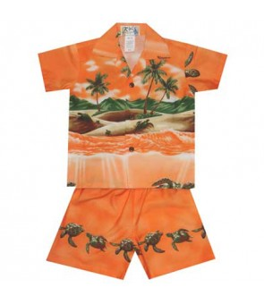 Hawaiian Cotton Boys Cabana Set [Turtle Ocean] Orange