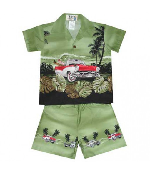 "Hawaiian Cotton Boys Cabana Set [ Classic Car Ride 12"" ] Green"
