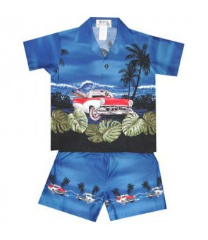 "Hawaiian Cotton Boys Cabana Set [ Classic Car Ride 12"" ] Navy"