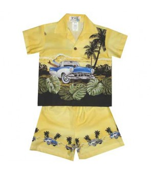 "Hawaiian Cotton Boys Cabana Set [ Classic Car Ride 12"" ] Yellow"