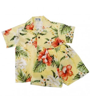 Hawaiian Cotton Boys Cabana Set [ Orchid Hibiscus ] Yellow
