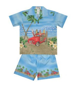 "Hawaiian Cotton Boys Cabana Set [ Woody Beach 12"" ] Blue"