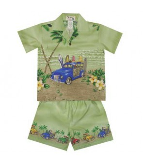 "Hawaiian Cotton Boys Cabana Set [ Woody Beach 12"" ] Green"