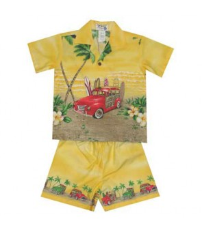 "Hawaiian Cotton Boys Cabana Set [ Woody Beach 12"" ] Yellow"