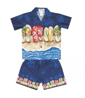 "Hawaiian Cotton Boys Cabana Set [ Beach Sandal 12"" ] Navy"