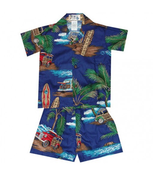 Hawaiian Cotton Boys Cabana Set [ Lots of Woody Car ] Navy