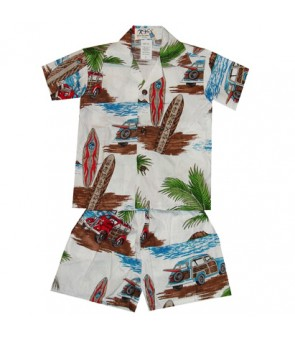 Hawaiian Cotton Boys Cabana Set [ Lots of Woody Car ] White