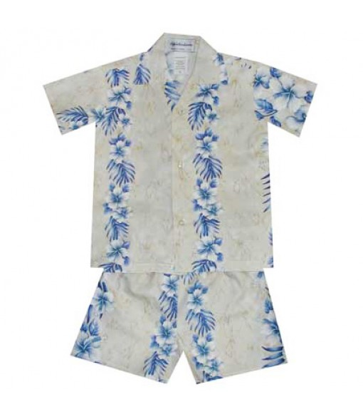 Hawaiian Cotton Boys Cabana Set [ Trend Hibiscus ] Cream