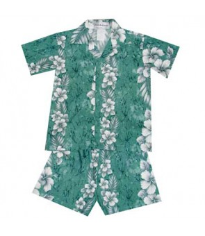 Hawaiian Cotton Boys Cabana Set [ Trend Hibiscus ] Green