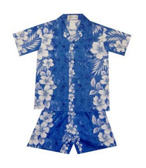 Hawaiian Cotton Boys Cabana Set [ Trend Hibiscus ] Navy Blue