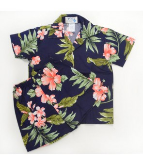 Hawaiian Cotton Boys Cabana Set [ Fancy Hibiscus ] Navy Coral