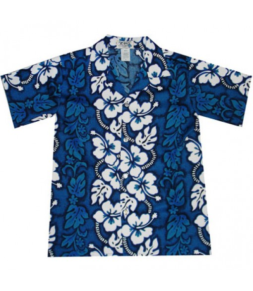 Hawaiian Cotton Boys Aloha Shirt [ Hibiscus 213 ] Navy Blue