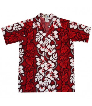 Hawaiian Cotton Boys Aloha Shirt [ Hibiscus 213 ] Red