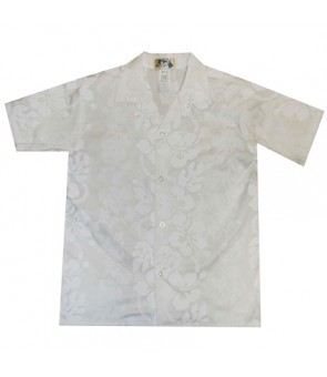 Hawaiian Cotton Boys Aloha Shirt [ Hibiscus 213 ] White