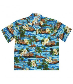 Hawaiian Cotton Boys Aloha Shirt [ Journey Woody ] Blue