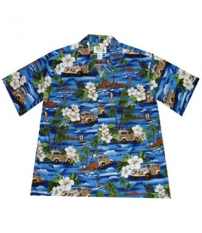 Hawaiian Cotton Boys Aloha Shirt [ Journey Woody ] Navy