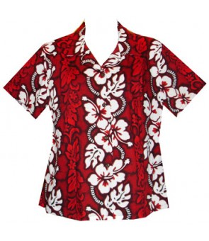 Hawaiian Ladies Fitted Cotton Aloha Shirt [ Hibiscus 213 ] Red