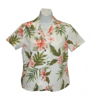 Hawaiian Ladies Fitted Cotton Aloha Shirt [ Fancy Hibiscus ] White Coral