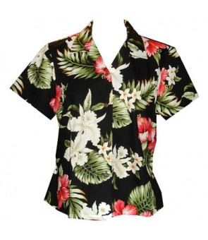 Hawaiian Ladies Fitted Cotton Aloha Shirt [ Orchid Hibiscus ] Black