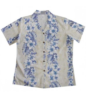 Hawaiian Ladies Regular Cotton Aloha Shirt [ Trend Hibiscus ] Cream
