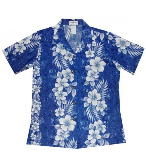 Hawaiian Ladies Fitted Cotton Aloha Shirt [ Trend Hibiscus ] Navy Blue