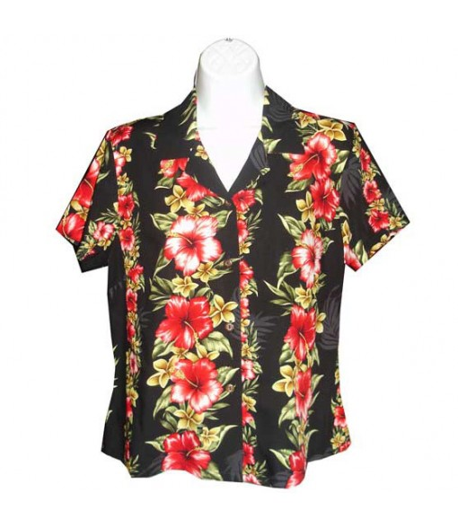 Hawaiian Ladies Rayon Aloha Shirt [ Maui Hibiscus Panel ] Black