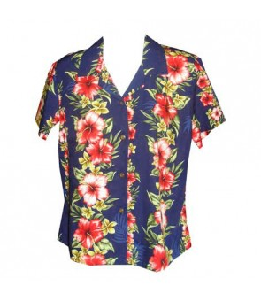 Hawaiian Ladies Rayon Aloha Shirt [ Maui Hibiscus Panel ] Navy