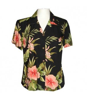 Hawaiian Ladies Rayon Aloha Shirt [ Maui Hibiscus ] Black