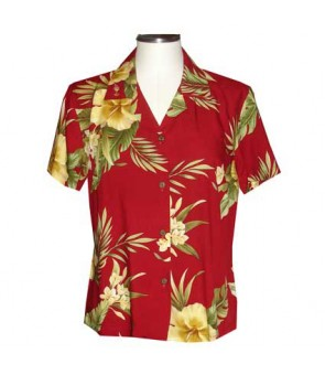 Hawaiian Ladies Rayon Aloha Shirt [ Maui Hibiscus ] Red