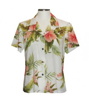 Hawaiian Ladies Rayon Aloha Shirt [ Maui Hibiscus ] White