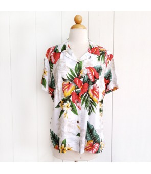 Hawaiian Ladies Rayon Aloha Shirt [ Maui Anthurium ] White