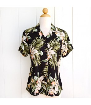 Hawaiian Ladies Rayon Aloha Shirt [ Orchid Fern Plumeria ] Black