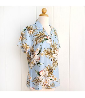 Hawaiian Ladies Rayon Aloha Shirt [ Orchid Fern Plumeria ] Blue