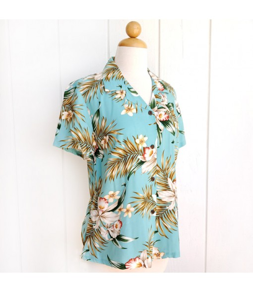 Hawaiian Ladies Rayon Aloha Shirt [ Orchid Fern Plumeria ] Green
