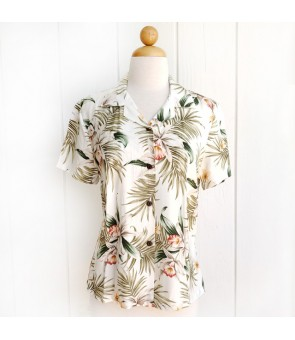 Hawaiian Ladies Rayon Aloha Shirt [ Orchid Fern Plumeria ] White