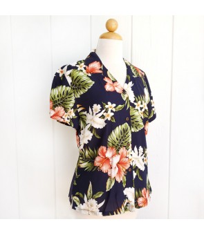 Hawaiian Ladies Rayon Aloha Shirt [ White Orchid Hibiscus ] Navy