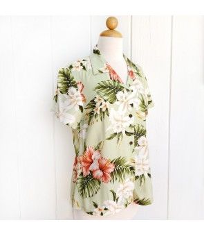 Hawaiian Ladies Rayon Aloha Shirt [ White Orchid Hibiscus ] Olive