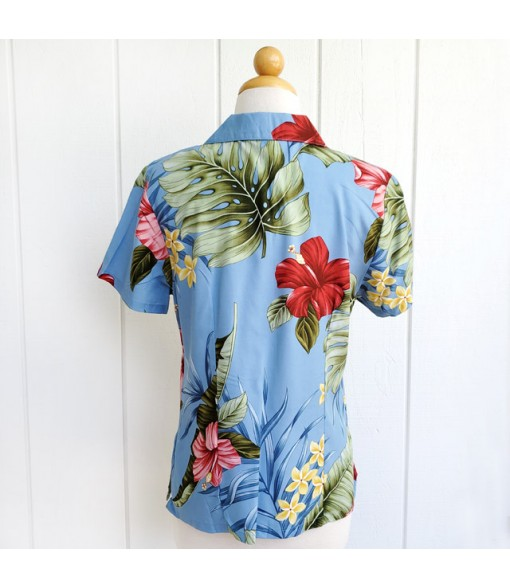 Hawaiian Ladies Rayon Aloha Shirt [ Hibiscus Leaf ] Blue