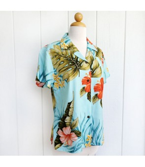 Hawaiian Ladies Rayon Aloha Shirt [ Hibiscus Leaf ] Green