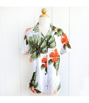 Hawaiian Ladies Rayon Aloha Shirt [ Hibiscus Leaf ] White
