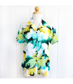 Hawaiian Ladies Rayon Aloha Shirt [ Plumeria ] Yellow