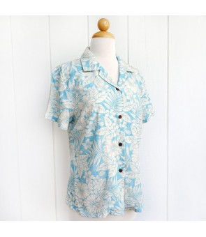 Hawaiian Ladies Rayon Aloha Shirt [ Future Garden ] Blue