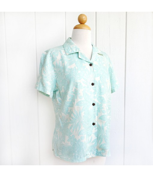 Hawaiian Ladies Rayon Aloha Shirt [ Future Garden ] Green