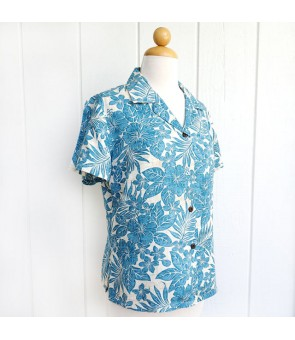 Hawaiian Ladies Rayon Aloha Shirt [ Future Garden ] Navy Blue