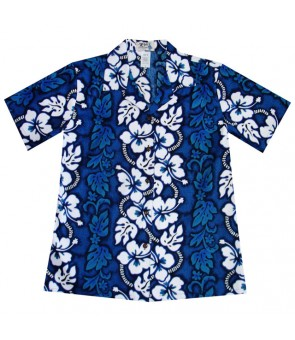 Hawaiian Ladies Regular Cotton Aloha Shirt [ Hibiscus 213 ] Navy Blue