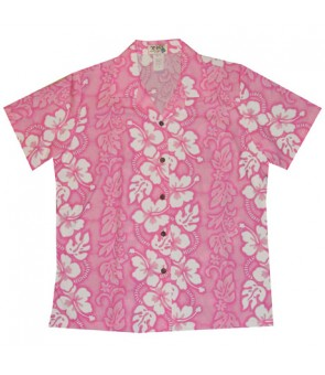 Hawaiian Ladies Regular Cotton Aloha Shirt [ Hibiscus 213 ] Pink