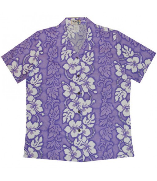 Hawaiian Ladies Regular Cotton Aloha Shirt [ Hibiscus 213 ] Purple