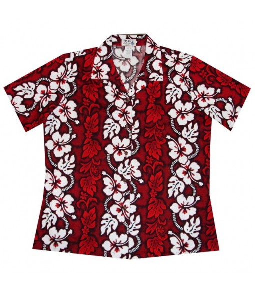 Hawaiian Ladies Regular Cotton Aloha Shirt [ Hibiscus 213 ] Red